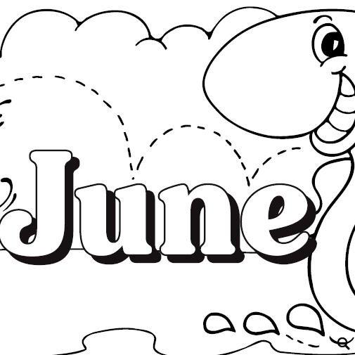June calendar heading clipart image black and white library Worksheet: June Calendar, Header and Symbols image black and white library