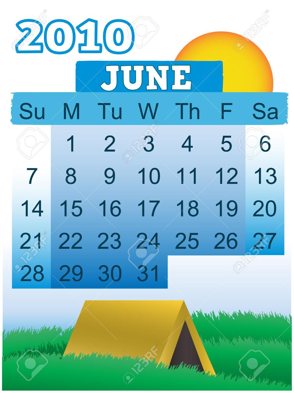 June calendar theme clipart vector transparent library June 2010 Month Calendar Summer Camping Theme Royalty Free ... vector transparent library
