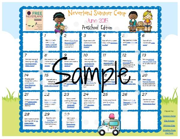 June preschool calendar clipart jpg transparent library Neverland Summer Camp for Preschoolers jpg transparent library