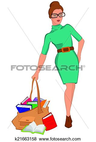 Junge frau clipart clipart black and white download Clip Art of Cartoon young woman holding big bag full of books ... clipart black and white download