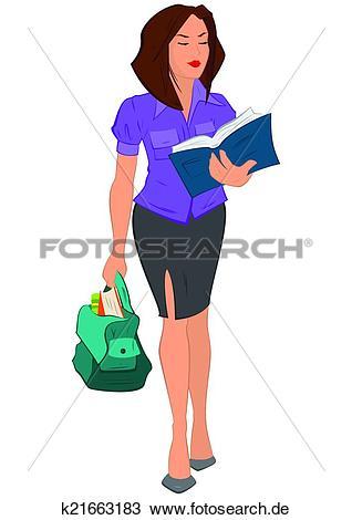 Junge frau clipart jpg royalty free Clipart - karikatur, junge frau, lesend buch, und, haltend sack ... jpg royalty free