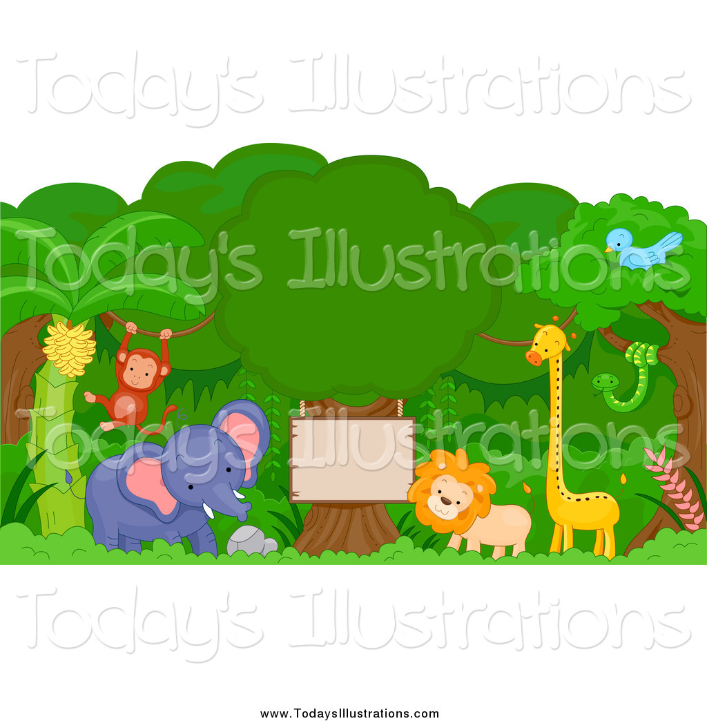 Jungle animal signs clipart black and white Clipart of Jungle Animals Around a Wooden Sign by BNP Design ... black and white
