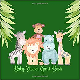 Jungle animal signs clipart jpg freeuse Baby Shower Guest Book: Jungle Safari Cute Animals, Sign in ... jpg freeuse