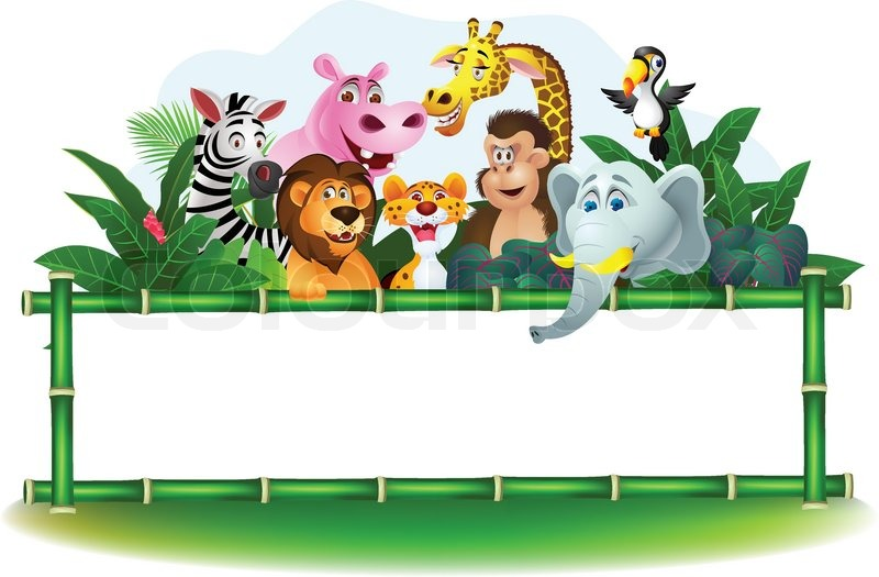 Jungle animal signs clipart