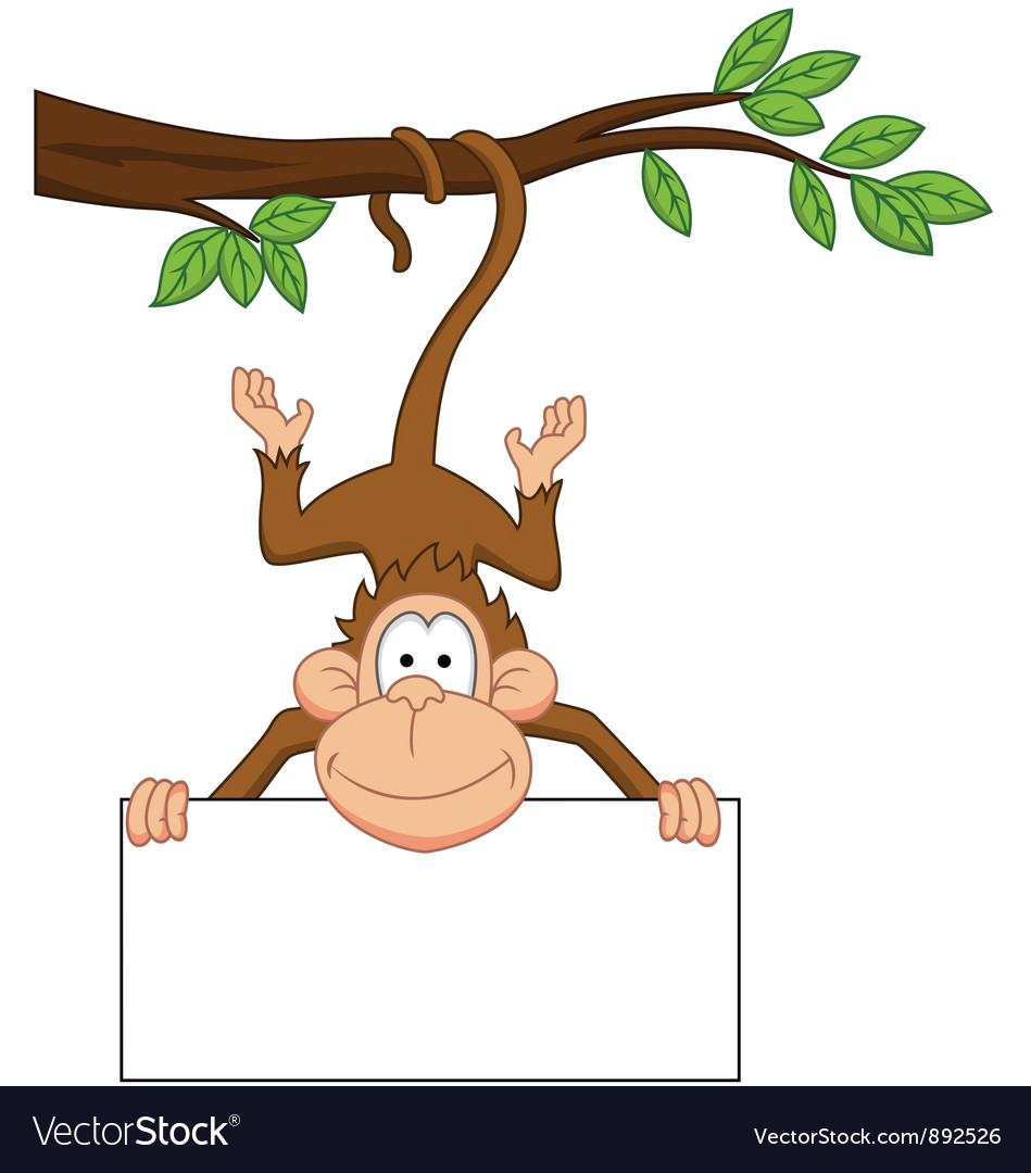 Jungle animal signs clipart banner royalty free stock Monkey with blank sign vector image banner royalty free stock