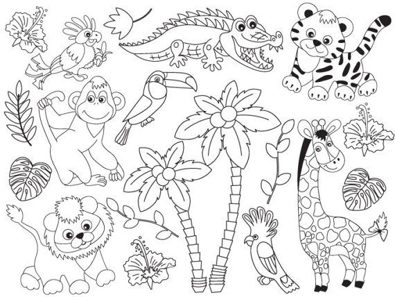 Jungle animals black and white clipart jpg library Jungle Animals Clipart - Digital Vector Safari Animals ... jpg library