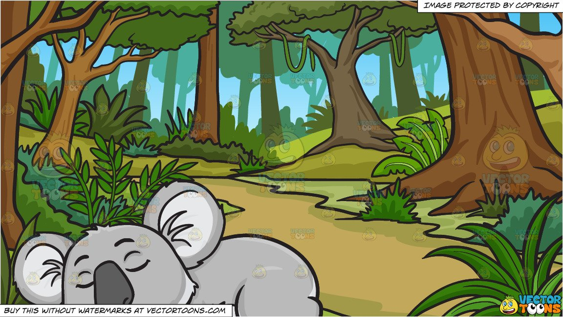 Jungle background clipart graphic transparent stock A sleeping koala bear and A Lush Jungle Background graphic transparent stock