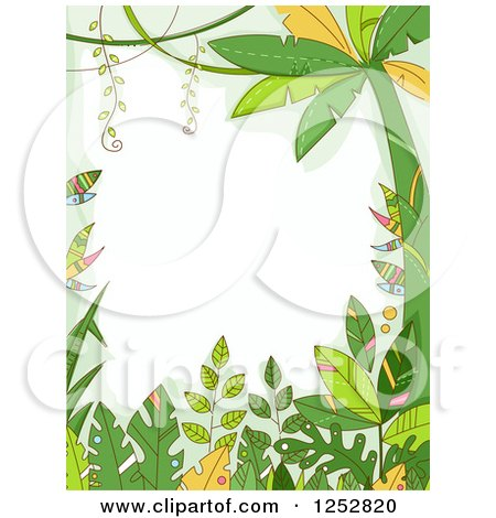 Jungle border clipart clip stock Clipart Of A Jungle Border Forest Plants Royalty Free Vector ... clip stock