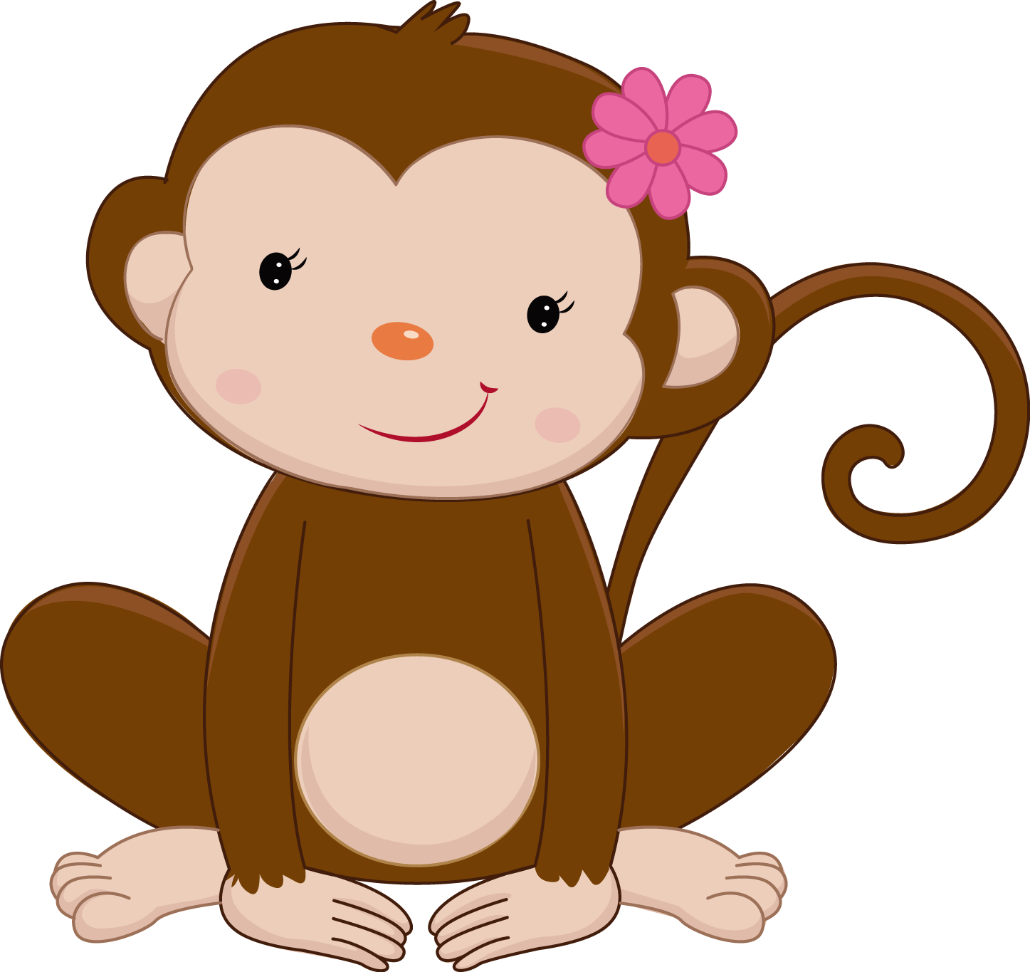 Monkey reading a book clipart banner black and white stock Pretty Pink Girly Jungle Animals - Pretty Pink Girly Jungle ... banner black and white stock