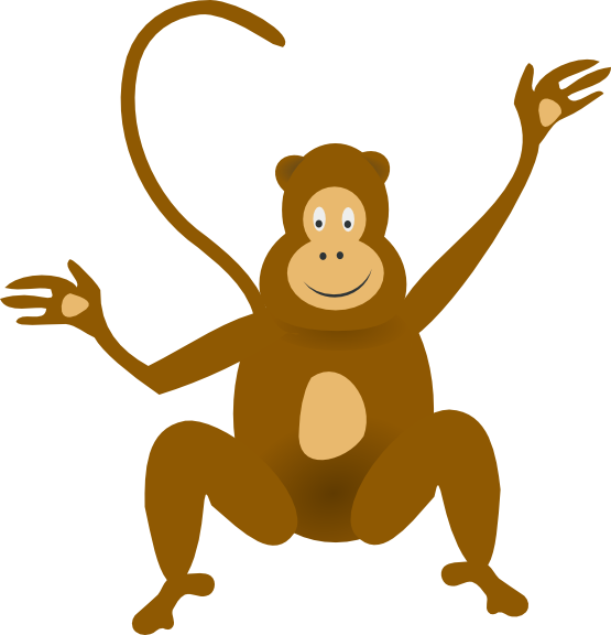 Monkey hanging from tree clipart graphic black and white 28+ Collection of Spider Monkey Clipart | High quality, free ... graphic black and white