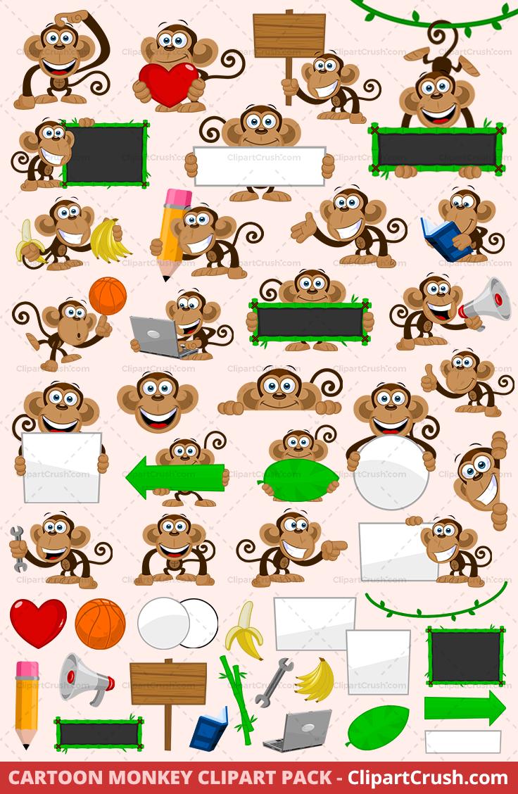Jungle monkey clipart vector freeuse Cartoon Monkey Clipart Pack - Vol. 01 vector freeuse