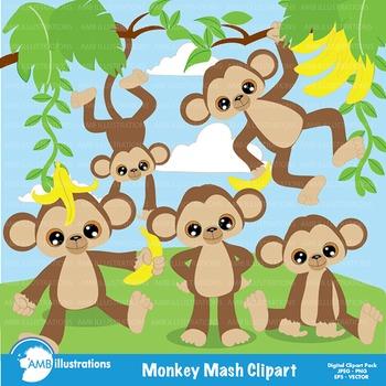 Jungle monkey clipart graphic transparent library Monkey Clipart, Jungle Clipart, Animal Clip Art - AMB-275 graphic transparent library