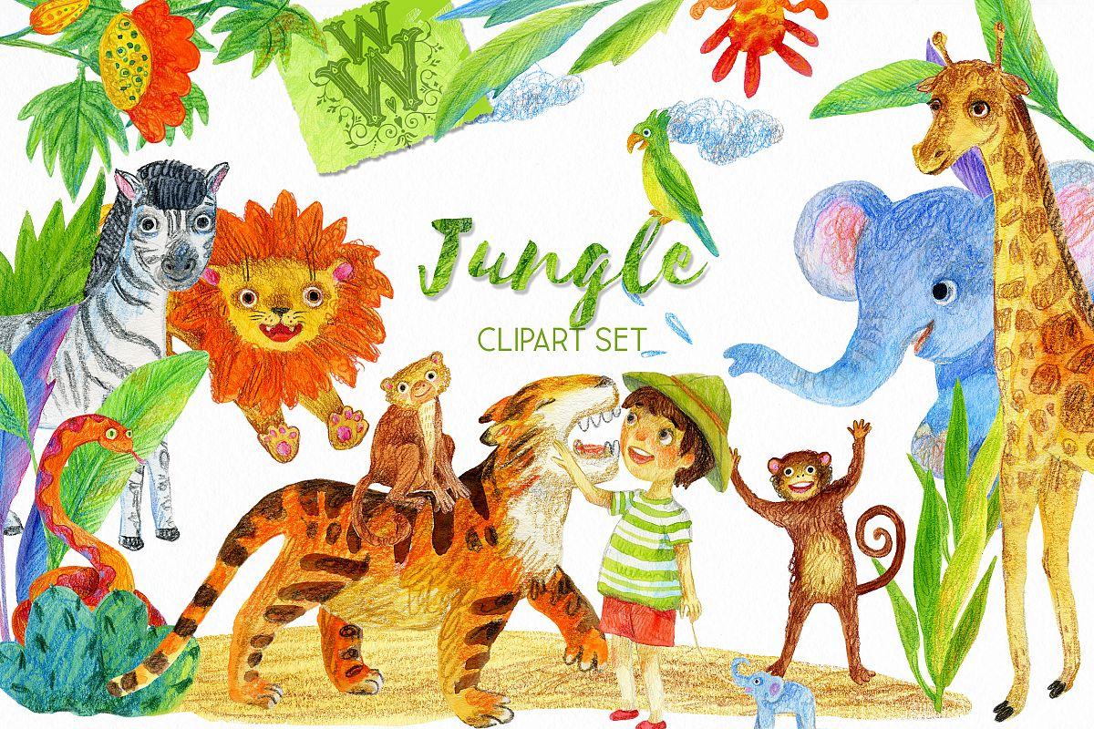 Jungle safari animals clipart black and white library Jungle animal clipart, safari zoo clip art, lion, tiger, kid black and white library