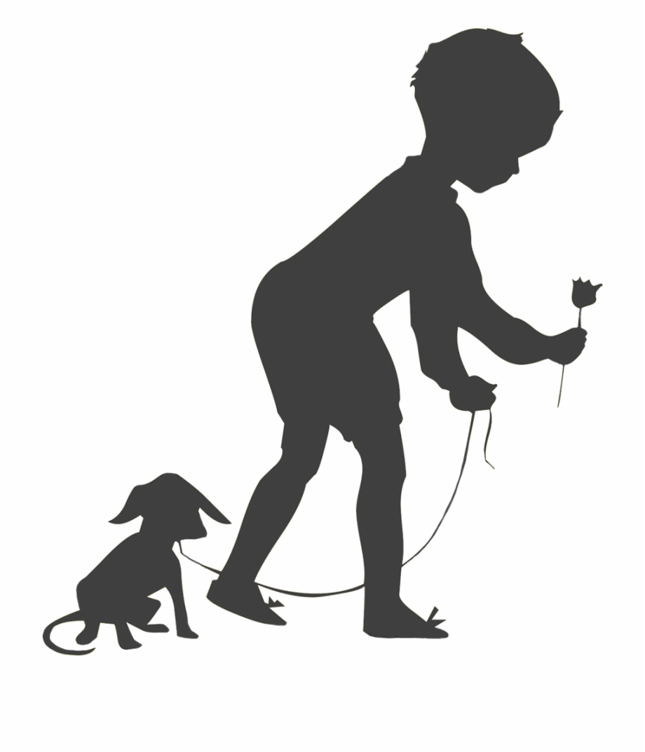 Just a boy and his dog clipart boarders jpg library Boy With Dog And Flower Silhouette - Child Free PNG Images ... jpg library