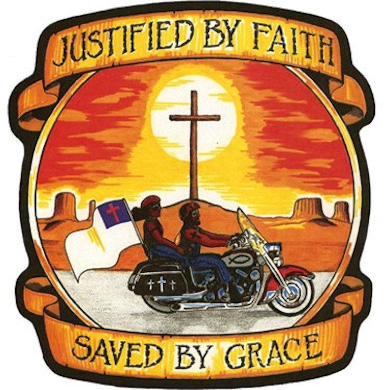 Justified by faith clipart clipart royalty free library Justified by Faith and Saved by Grace Patch Small Motorcycle ... clipart royalty free library