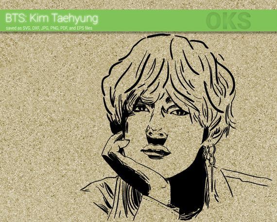 K pop clipart transparent Bts kim taehyung svg download, kpop clipart, k pop vector ... transparent