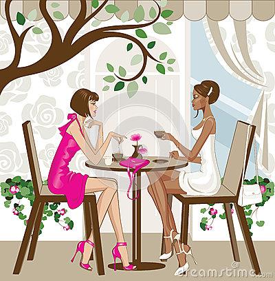 Kaffee trinken clipart image freeuse download Girlfriends Stock Illustrations – 812 Girlfriends Stock ... image freeuse download