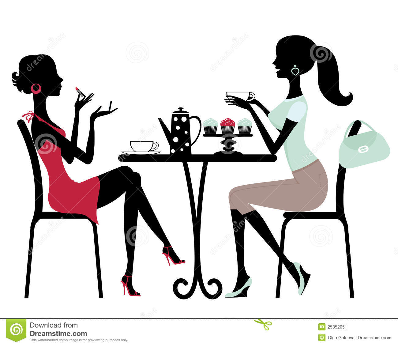 Kaffee trinken clipart vector black and white stock Two Women Coffee Break Stock Illustrations – 36 Two Women Coffee ... vector black and white stock