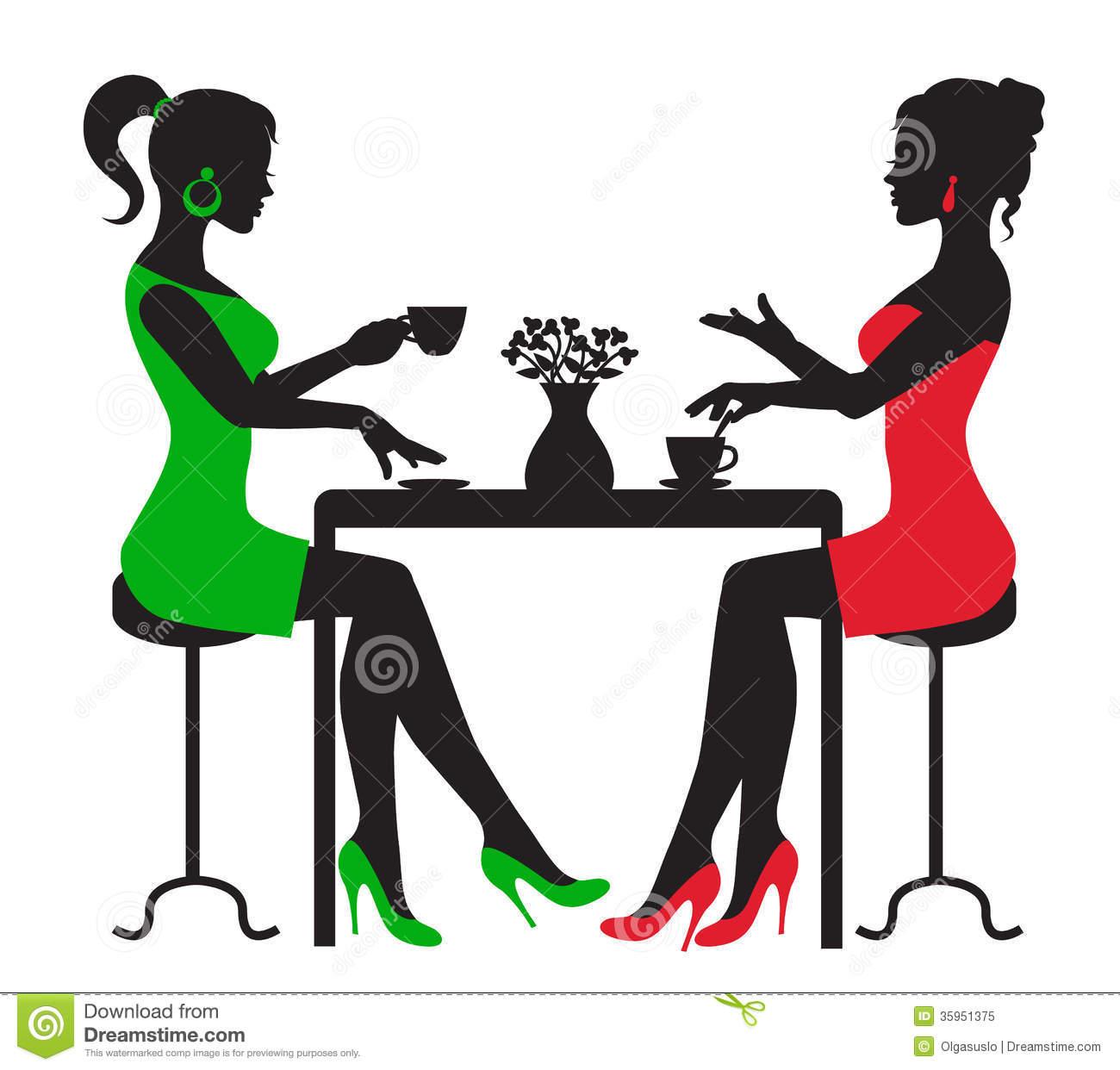 Kaffee trinken clipart image transparent stock Zwei Frauen, Die Kaffee An Einem Tisch Trinken Lizenzfreies ... image transparent stock