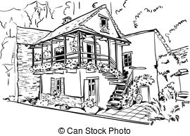 Kaputtes haus clipart jpg library library Traditional cottage Clipart Vector and Illustration. 1,324 ... jpg library library
