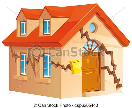 Kaputtes haus clipart clip black and white stock Stock Illustration of Cracked house - Isolated illustration of ... clip black and white stock