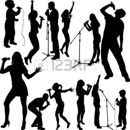 Karaoke singer clipart jpg freeuse download Karaoke: singers silhouette set vector | Karaoke in 2019 ... jpg freeuse download
