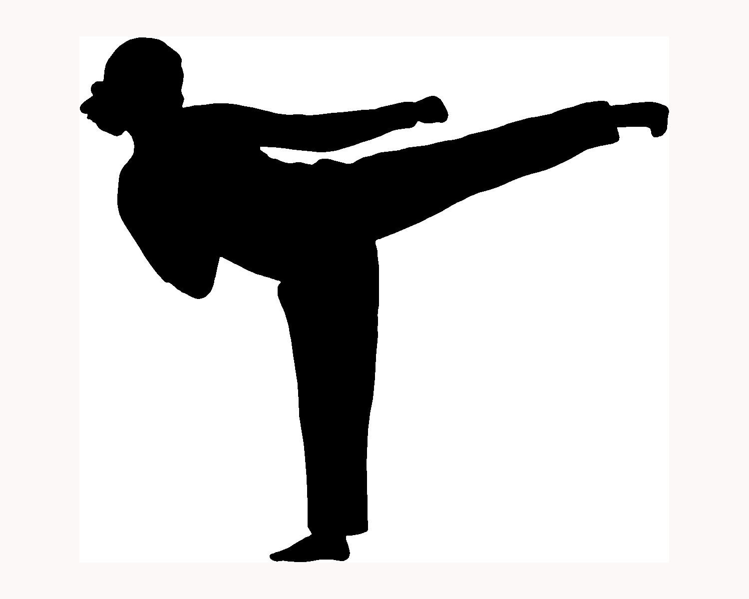 Karate kick clipart svg black and white download Free Karate Silhouette Cliparts, Download Free Clip Art ... svg black and white download