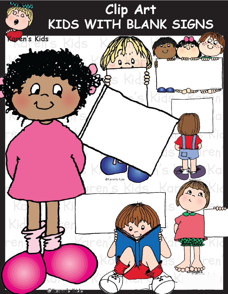 Karen clipart black jpg stock Kids With Blank Signs includes 48 image files. 24 full color ... jpg stock