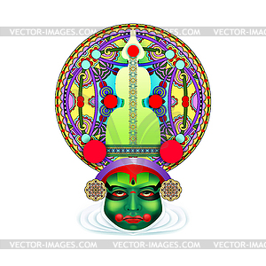 Kathakali clipart clip art library library Indian kathakali dancer face - vector clipart clip art library library