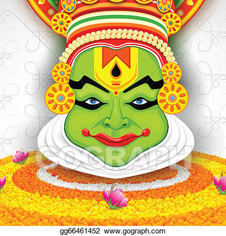 Kathakali clipart clipart transparent stock Clip Art Vector - Colorful kathakali face. Stock EPS ... clipart transparent stock
