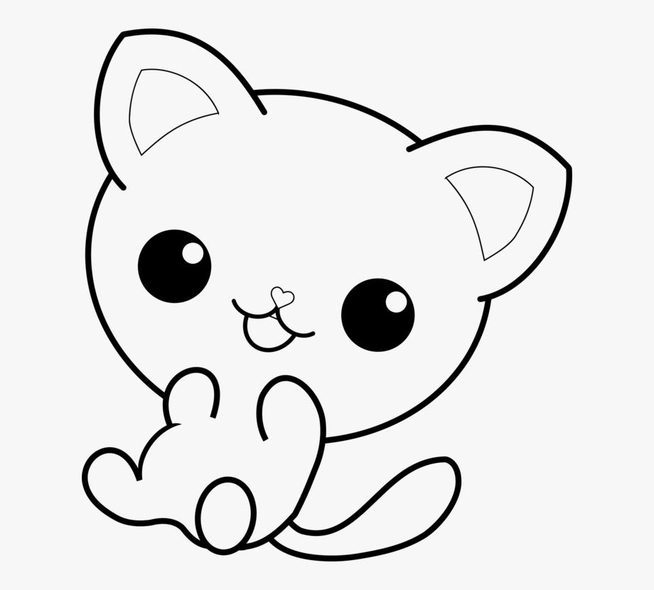 Kawaii cat clipart black and white transparent Cat Pusheen Coloring Book Kitten Hello Kitty - Kawaii Cat ... transparent