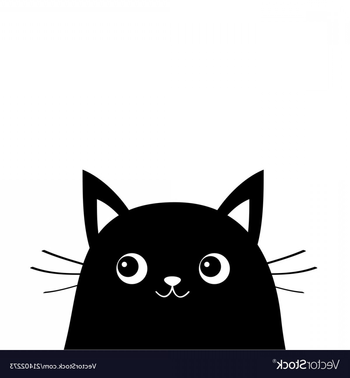 Kawaii kitten outline clipart black and white clip freeuse download White Cat Face Silhouette Kawaii Animal Cute Vector | SOIDERGI clip freeuse download