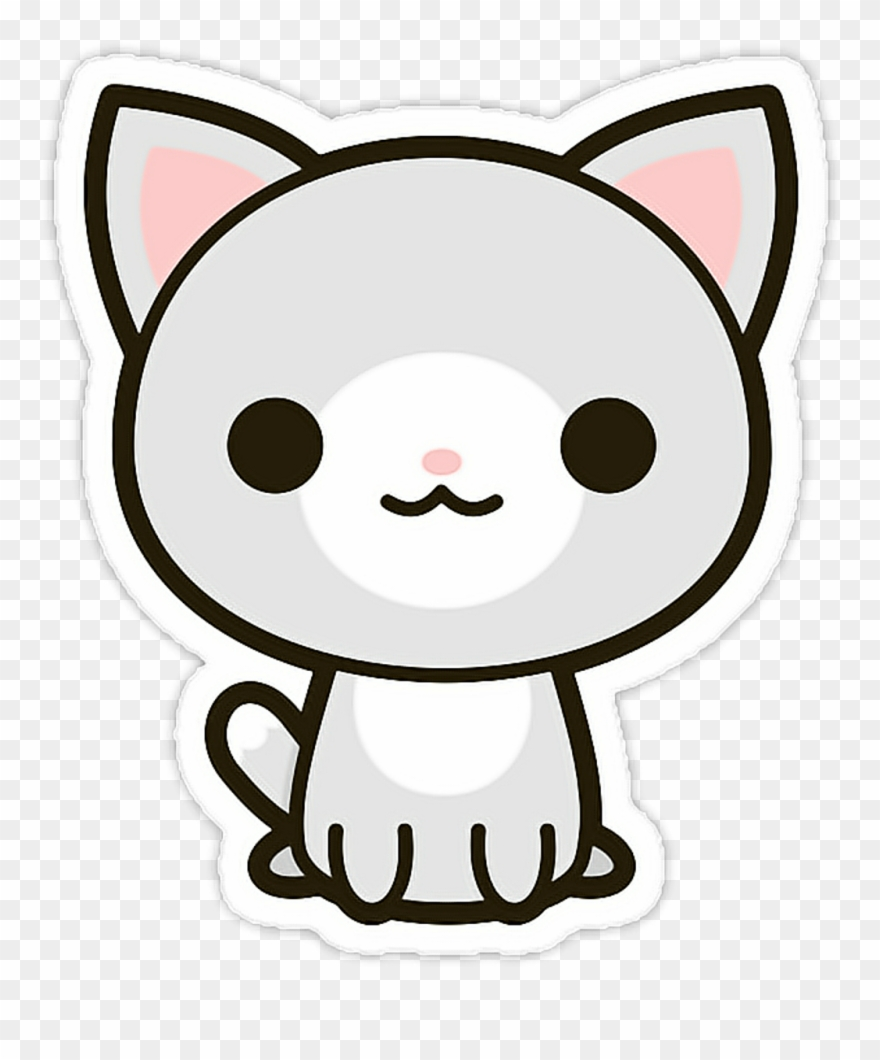 Kawaii cat clipart black and white royalty free picture royalty free Cat Sticker - Stickers Kawaii Png Clipart (#3262217 ... picture royalty free