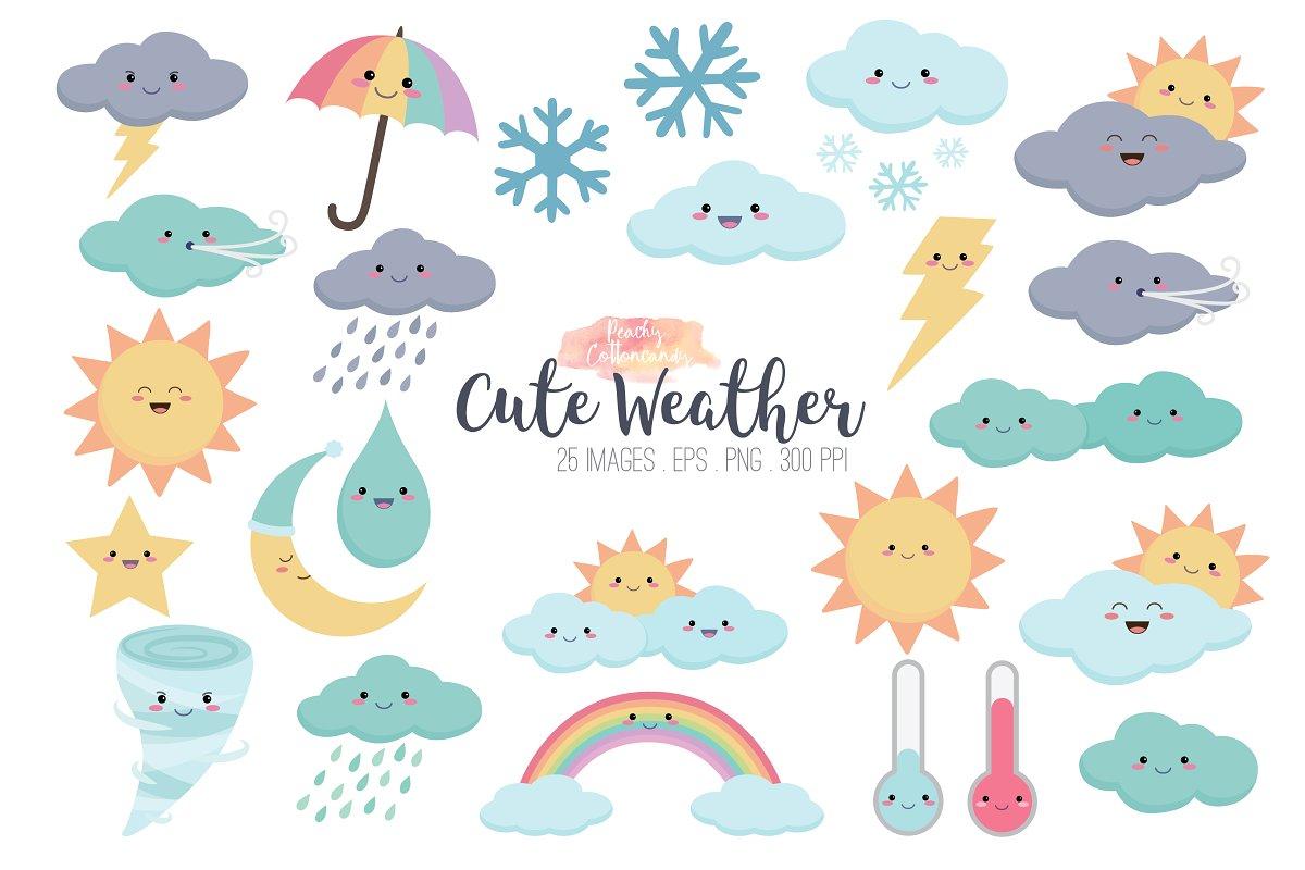 Kawaii clipart vector free download Kawaii Weather Clipart vector free download