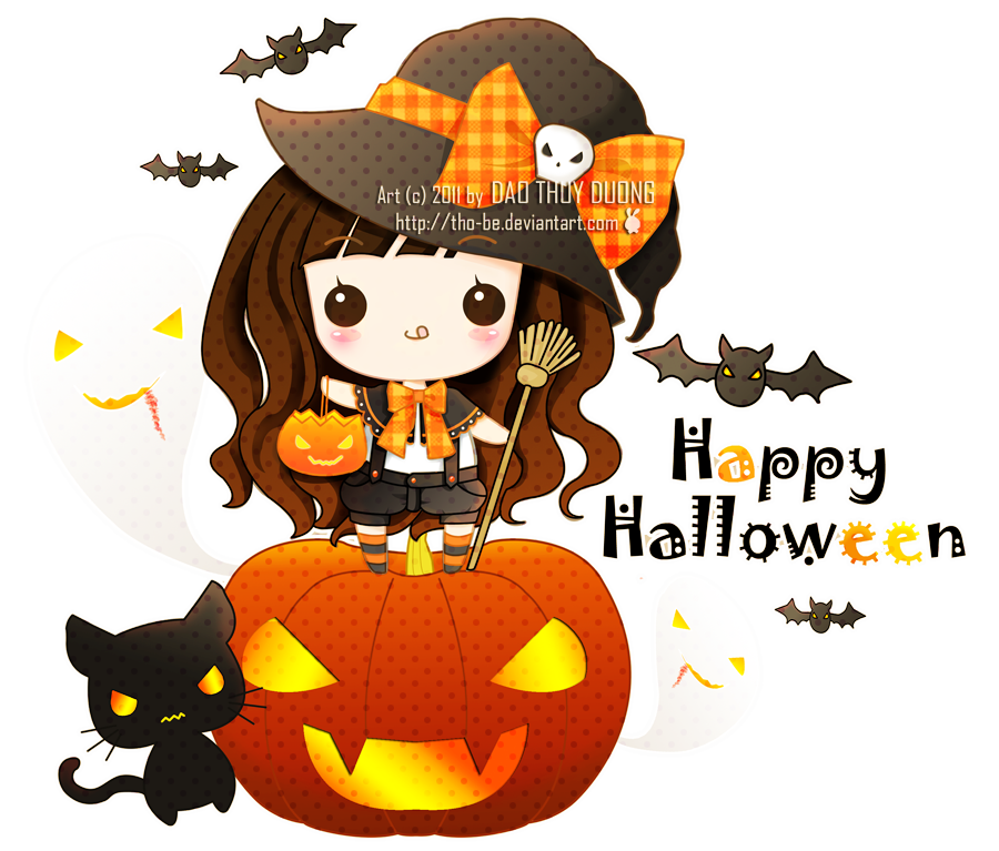 Kawaii clipart halloween picture black and white download Kawaii Halloween by tho-be on DeviantArt picture black and white download