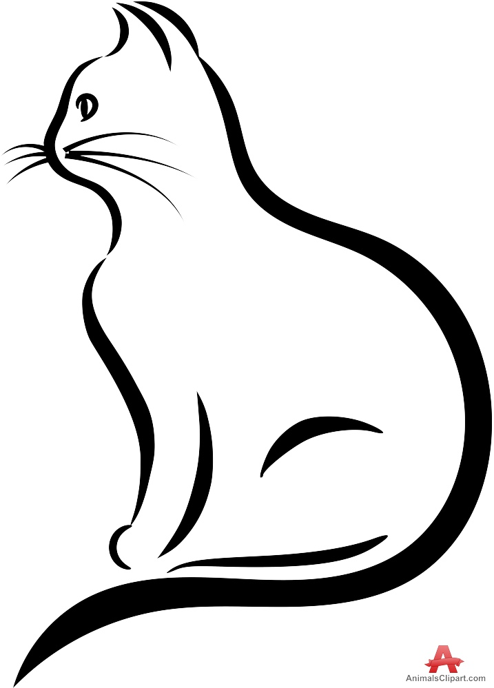 Kawaii kitten outline clipart black and white jpg download Kitten Clipart Black And White | Free download best Kitten ... jpg download
