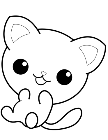 Kawaii kitten outline clipart black and white clip free Kawaii Kitty coloring page | Free Printable Coloring Pages clip free