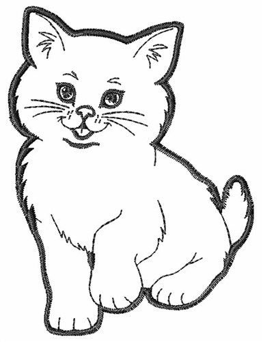 Kawaii kitten outline clipart black and white picture transparent stock Kitten Outline Embroidery Design | Crazy For Cats | Animal ... picture transparent stock