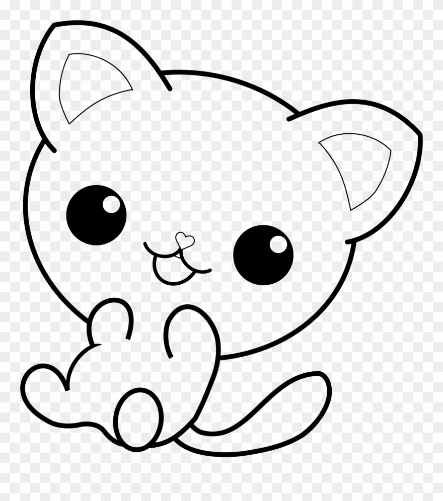 Kawaii kitten outline clipart black and white jpg black and white Big Image - Kawaii Cat Coloring Pages Clipart (#2171047 ... jpg black and white