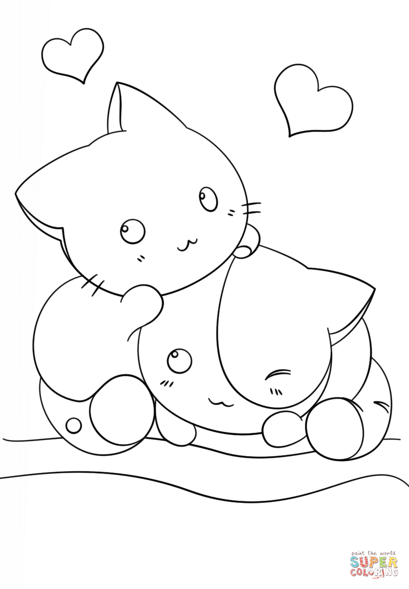 Kawaii kitten outline clipart black and white clip royalty free download Kawaii Kittens coloring page | Free Printable Coloring Pages clip royalty free download
