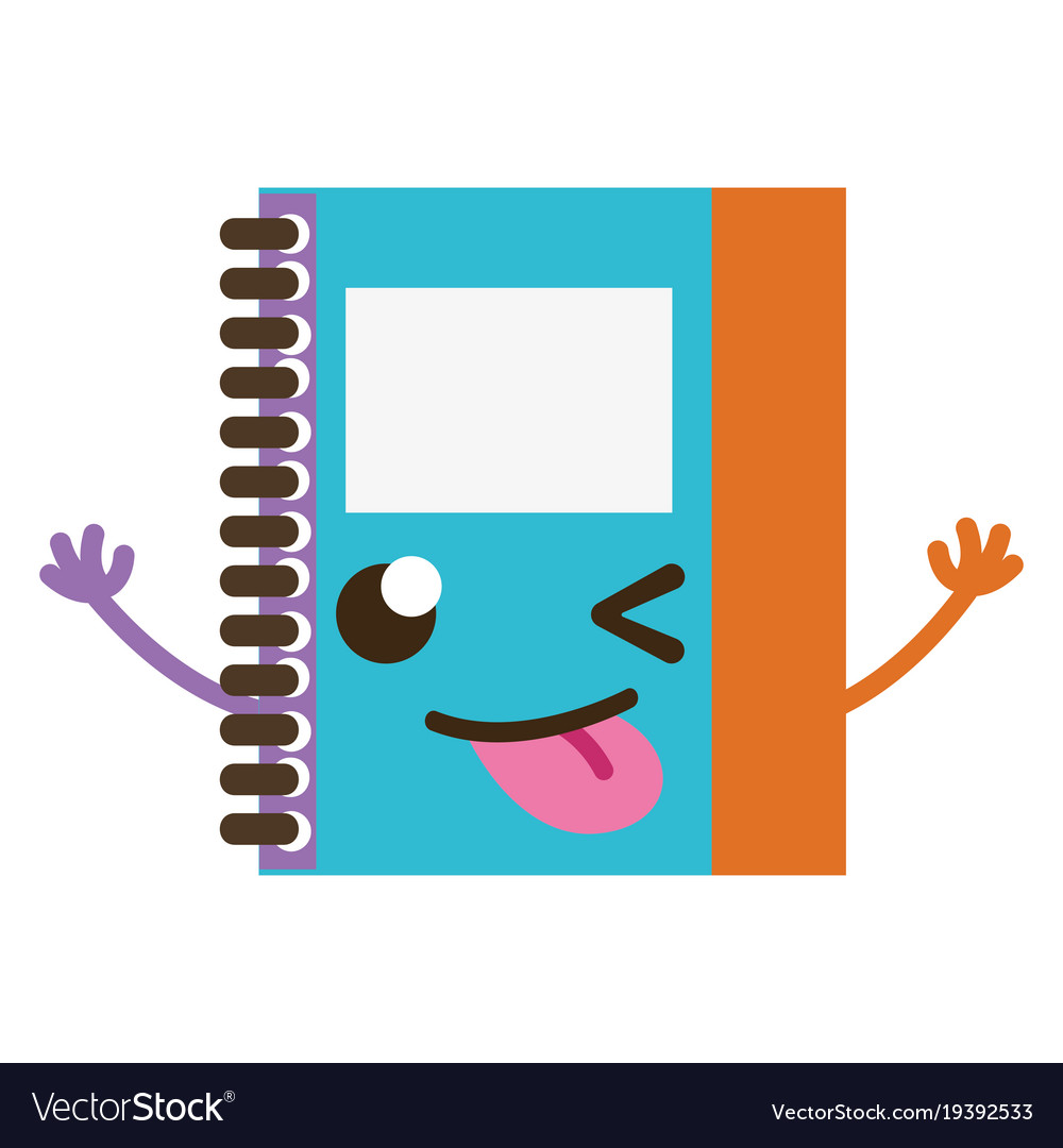 Kawaii notepad clipart graphic freeuse library Colorful funny and cute notebook object kawaii graphic freeuse library