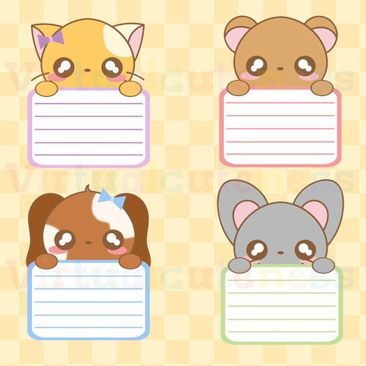 Kawaii notepad clipart graphic transparent Kawaii Animal Lists Clipart | س | Cute planner, Printable ... graphic transparent