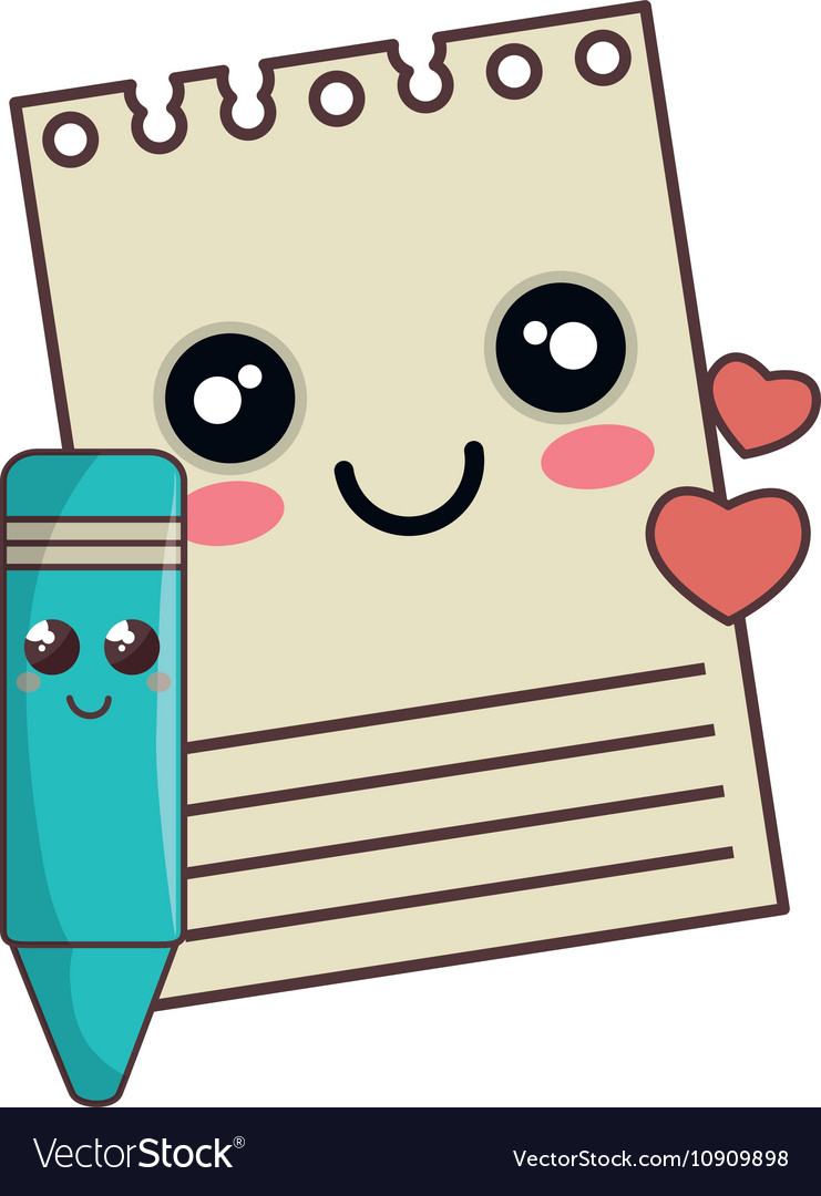 Kawaii notepad clipart picture library Notepad and color pencil kawaii cartoon vector image picture library