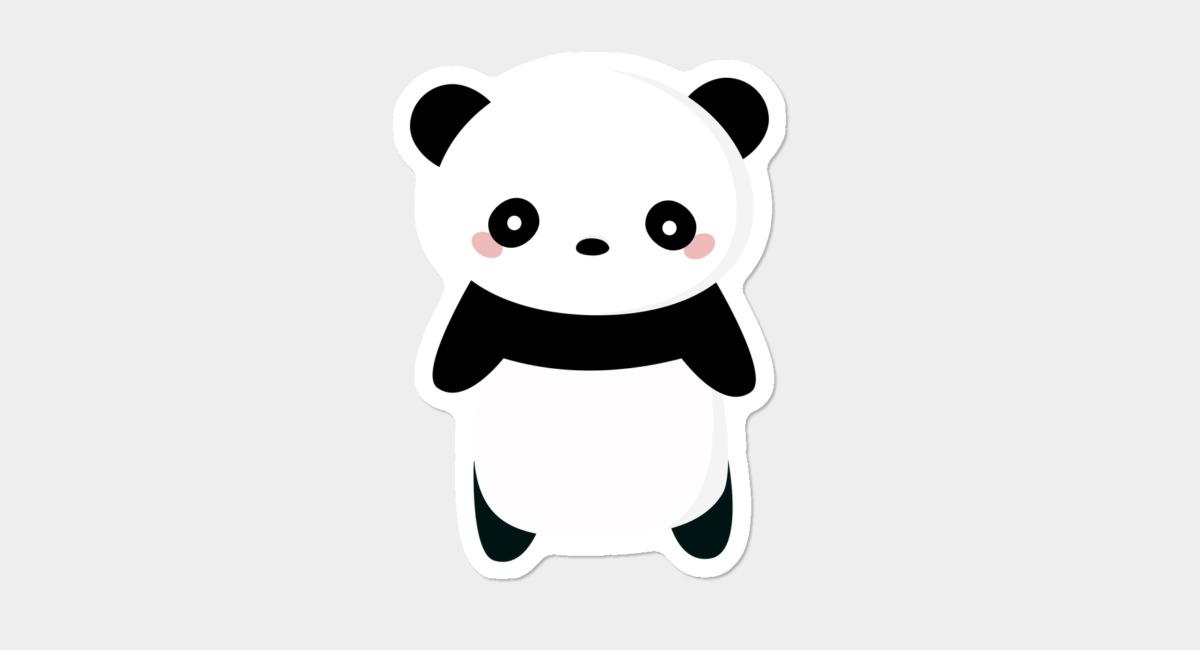 Kawaii panda clipart picture black and white library Kawaii Panda Bear Sticker By Happinessinatee Design By Humans picture black and white library