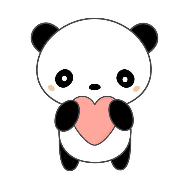 Kawaii panda clipart clip black and white Kawaii Cute Panda Bear With Heart T-Shirt clip black and white