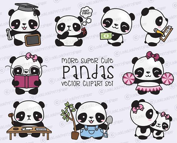 Kawaii panda clipart clipart royalty free download Premium Vector Clipart - More Kawaii Pandas - More Cute ... clipart royalty free download