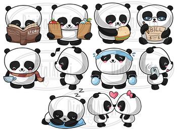 Kawaii panda clipart vector free library Kawaii Pandas Clipart vector free library