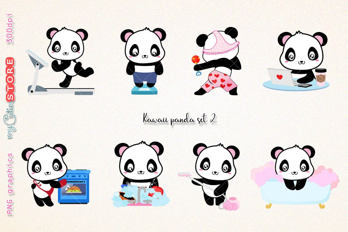 Kawaii panda clipart png transparent library Kawaii panda clipart, PNG graphics collection, treadmill, weight scale,  cooking, wash dishes clip art great for planner stickers or digital  planning. png transparent library