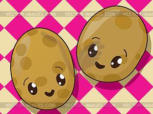 Kawaii potato clipart clip art transparent Kawaii potato icons - vector clipart / vector image clip art transparent