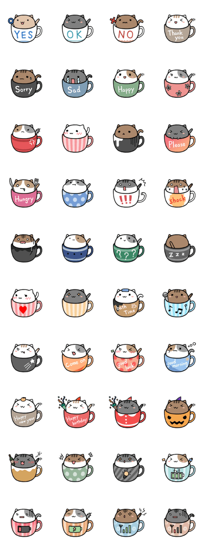 Kawaii school clipart image transparent This is a cute cat sticker of entering into the tea cup. | Kawaii ... image transparent